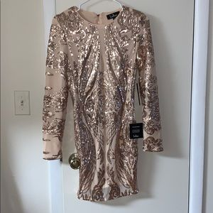 Marisol Rose Gold Sequin Long Sleeve Bodycon Dress